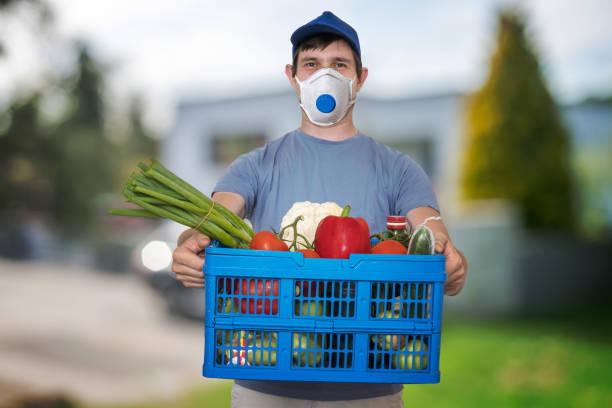 Man with FFP3 respiratr face